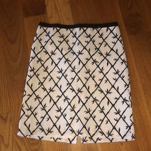 Talbots skirt black and white bamboo print size 10